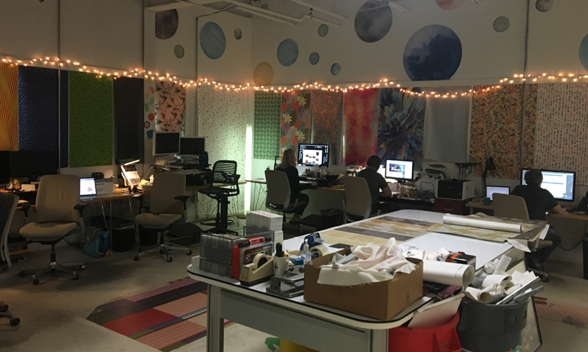 Designtex's Portland facility staff includes many artists and artisans (image: colorful workstations)