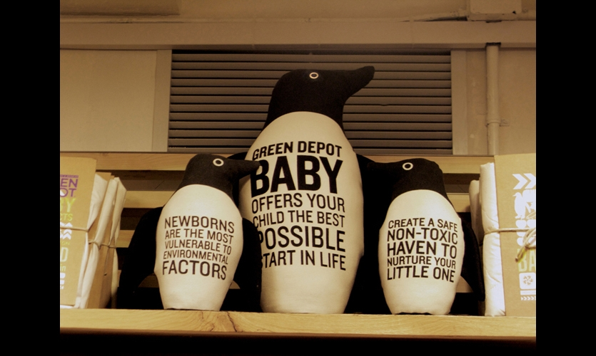 In the children's section, stuffed penguins made of organic canvas become signage. (Photo: Lydia Turner)