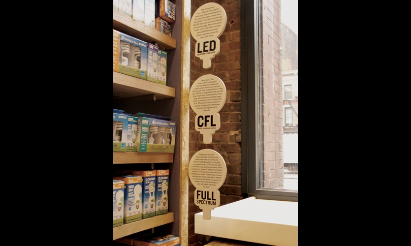 Simple graphics give Green Depot shoppers the backstories behind such issues as sustainable lighting options.