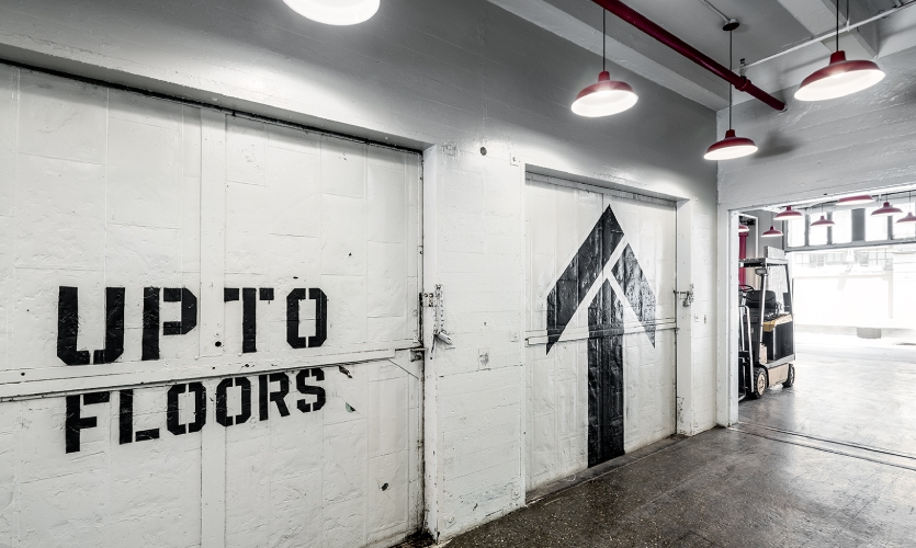The interior wayfinding graphics were painted by hand using stencils or projections.