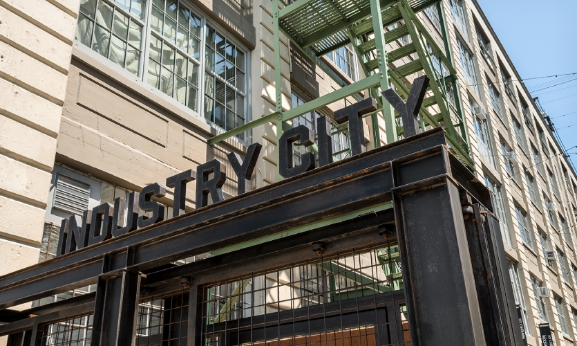 The new Industry City logo is a nod to its industrial shipping past.