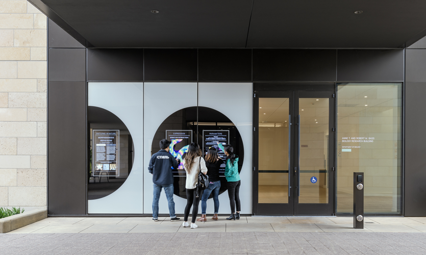 An interactive display adjacent to the building's main entry allows the public to explore and create an incredibly diverse array of animating Turing pattern designs.