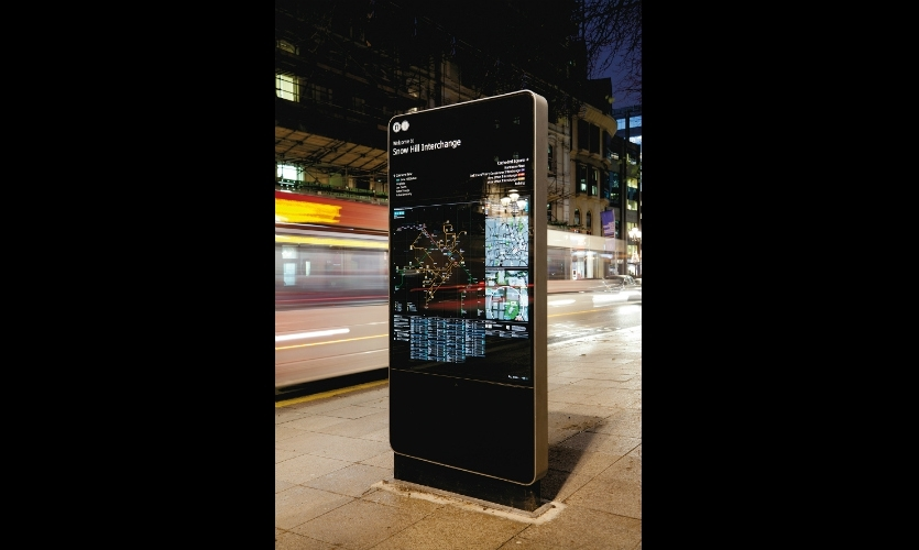 Interconnect Birmingham: Most of the totems are powered and illuminated, providing highly legible graphics and dynamic information 24 hours a day.