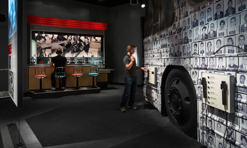 A Movement Catches Fire Gallery: Interactive Lunch Counter and Freedom Riders Theater.