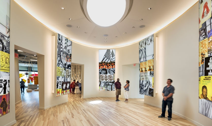 Shared Accomplishments Gallery: The gallery is the culmination of the Civil Rights and Human Rights galleries, and the themes merge triumphantly.