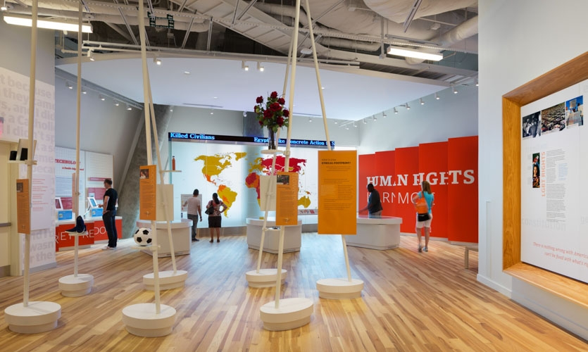 The Human Rights galleries are open and free-flowing, so visitors can explore the exhibits as they choose.