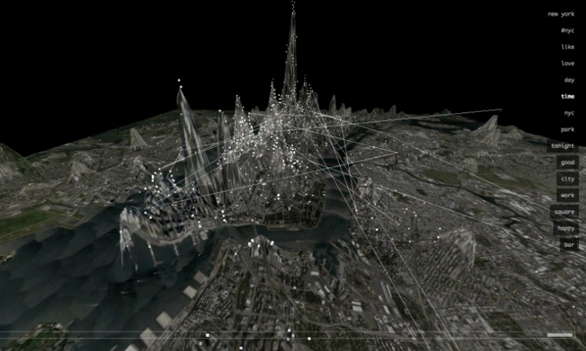 Invisible Cities is a data visualization project by Christian Marc Schmidt and Liangjie Xia that visualizes the social networks in the urban environment.