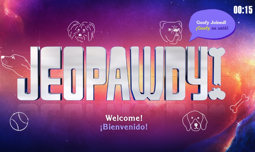 Jeopawdy, is a dog-themed interactive based on the TV show Jeopardy. The three-player game invites players to test their dog pop culture trivia skills.  (image: screenshot from game)