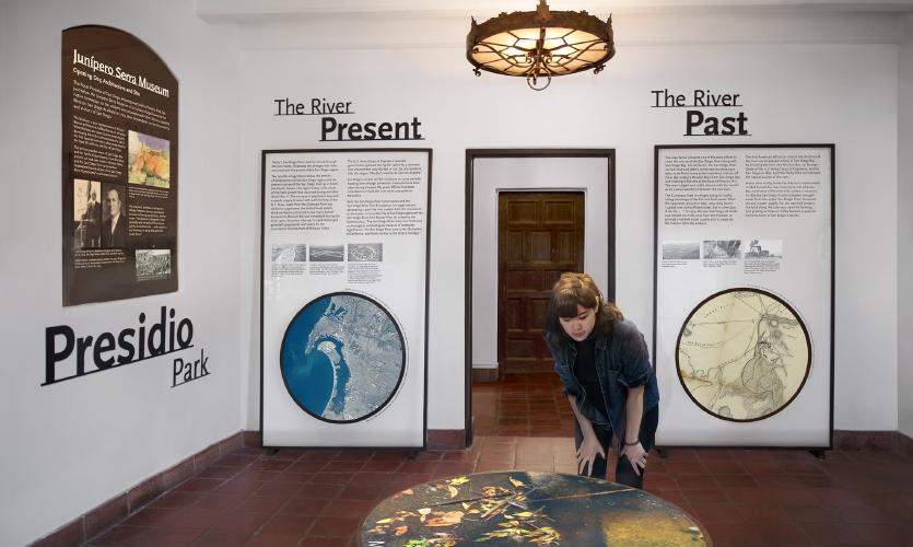 Inside, the interpretive narratives—Native People; Birthplaces of California and San Diego; Presidio Park; The River, Past and Present—were mapped on to the four walls and available niches.