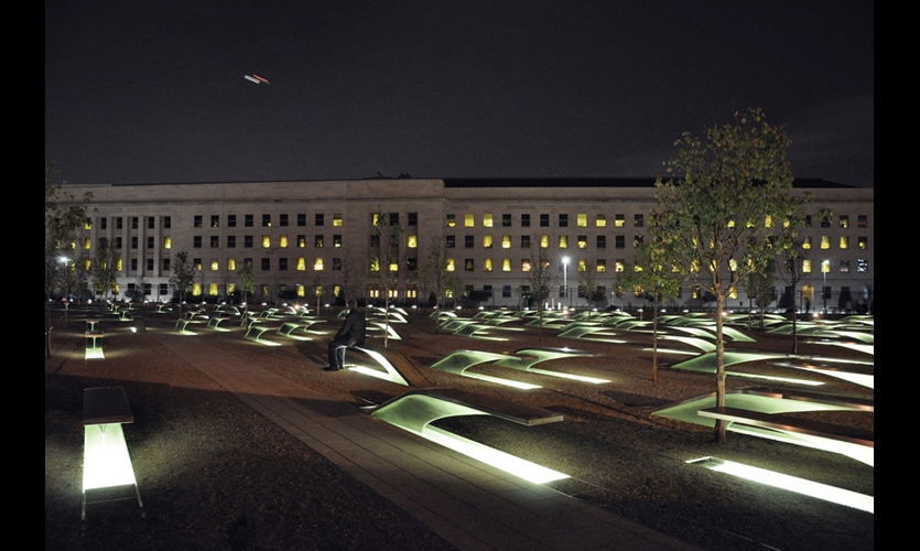 The Pentagon Memorial features 184 stainless steel benches remembering the victims of the 9/11/2001 attack on the Pentagon. (Design and photo: Kaseman Beckman Advanced Strategies)