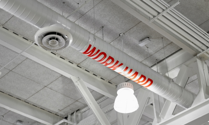 The most fun messages are those not immediately noticeable, like this one on the gym ceiling. (Photo: Garrett Rowland)