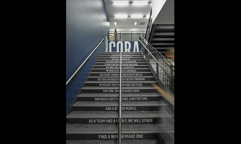 The stair risers feature the KIPP credo.