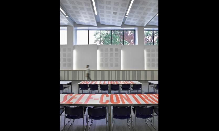 In the cafetorium, tabletops sport key school values.