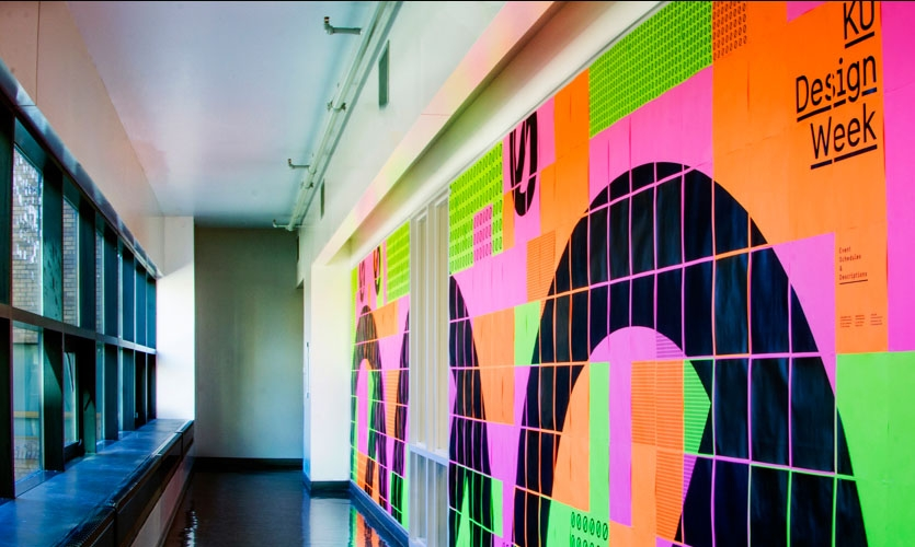 Some walls feature large, carefully tiled graphics.