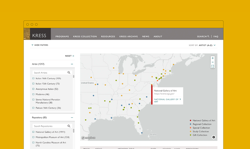 New Kress Foundation website designed by C&G Partners, Image provied by C&G Partners