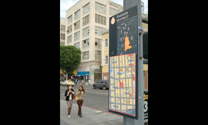 Wayfinding systems for cities like Los Angeles (by Hunt Design and Corbin Design) help deconstruct the city by creating recognizable structures of districts.