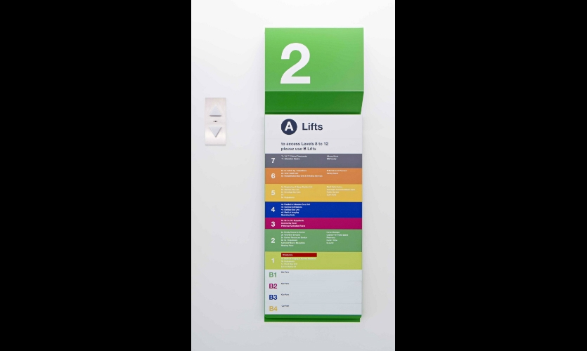 Elevator directories are a changeable magnetic system by SignLink. Graphics are digitally printed on vinyl applied to the changeable aluminum panels.