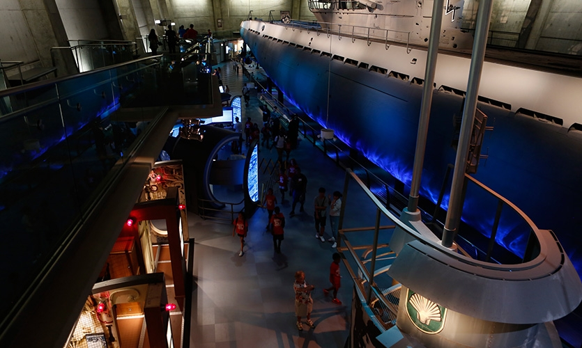 The U-505 submarine exhibit at the Museum of Science and Industry, Chicago is impressive in scale.