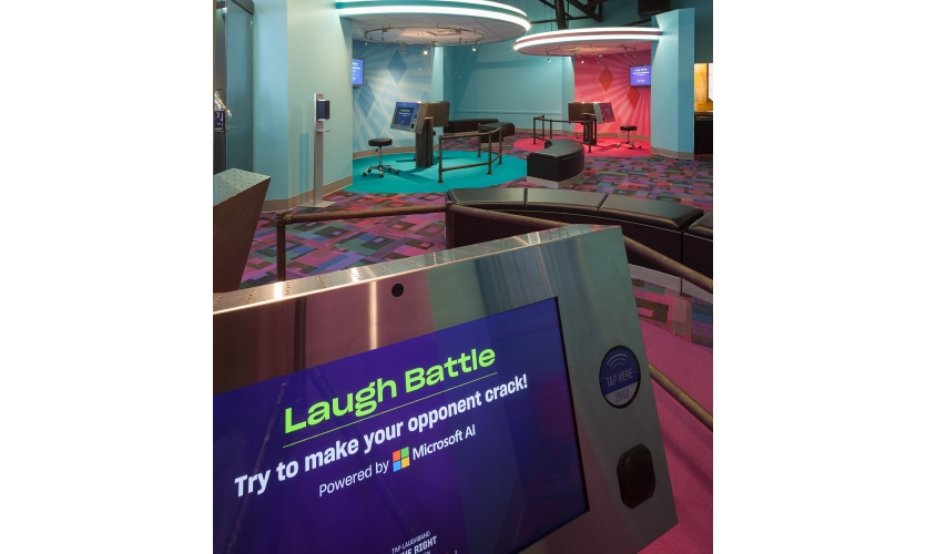 Laugh Battle uses a Microsoft AI facial recognition program within Azure Cognitive Services to analyze players' faces and detect emotions quickly with a relatively high degree of accuracy.