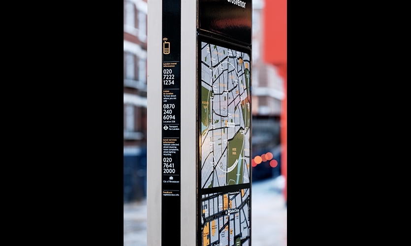 Legible London monoliths are designed to accommodate WiFi. Future urban navigation systems will hook into Smart Cities data networks.