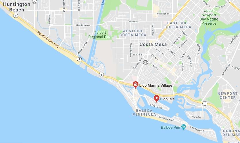 Map of Balboa Peninsula and surrounding areas (Google Maps)