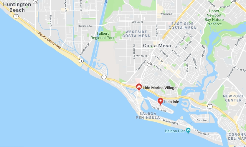 Map of Balboa Peninsula and surrounding areas (Google Maps)