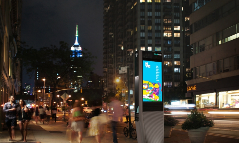 LinkNYC will bring the fastest available municipal Wi-Fi to millions of New Yorkers, small businesses, and visitors in 5 boroughs. It will be funded through advertising revenues. (Design and photo: CityBridge)