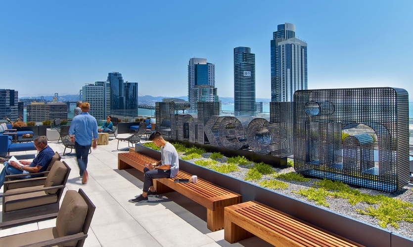 An 18-foot-wide logo on LinkedIn San Francisco's stunning terrace is perforated metal in deference to views that extend all the way to the Bay Bridge.
