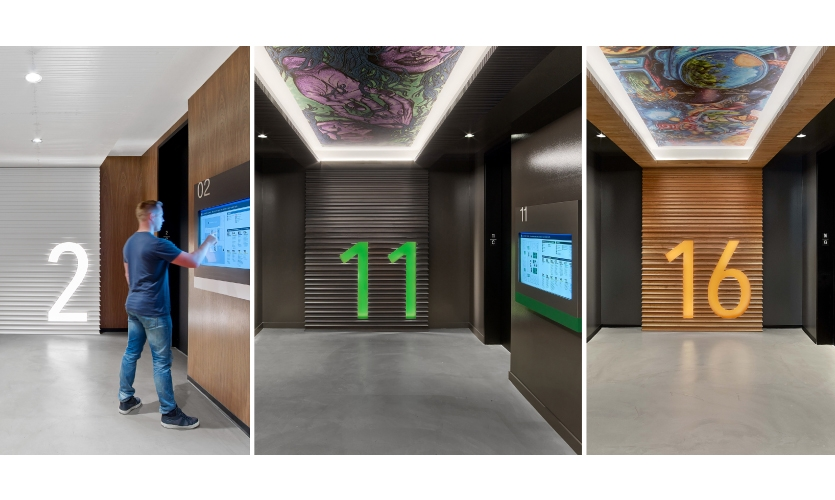 At Linkedin San Francisco, floor numbers are backlit in stacks of crown molding, inspired by Victorian architecture. Wayfinding color coding takes cues from the vibrant palette of neighborhood graffiti.
