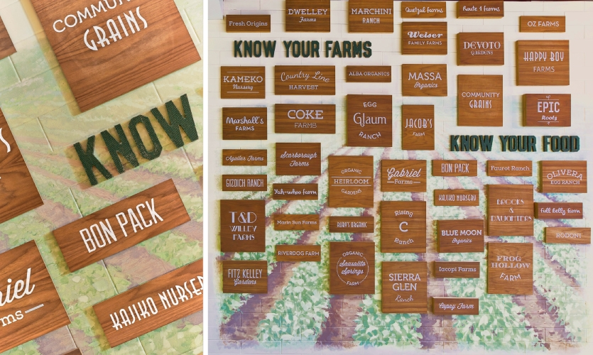 Direct-printed wood panels and burlap-covered headlines, all easily interchangeable, sit atop a handpainted mural that calls attention to LinkedIn's farm-to-table efforts in the cafeteria.