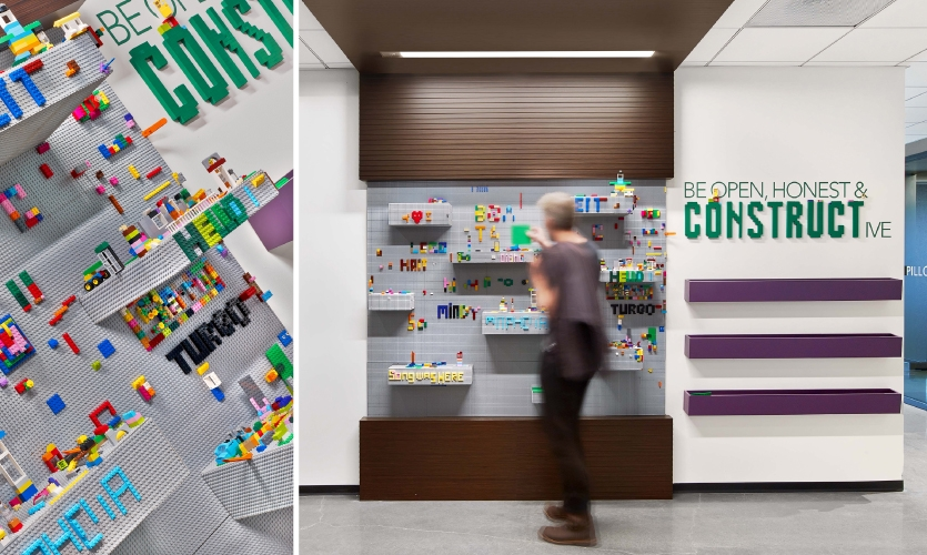 "LinkedIn's company values are subtly layered into installations when appropriate. Here, the value of ""Be Open, Honest and Constructive"" reinforces the spirit of a LEGO wall."