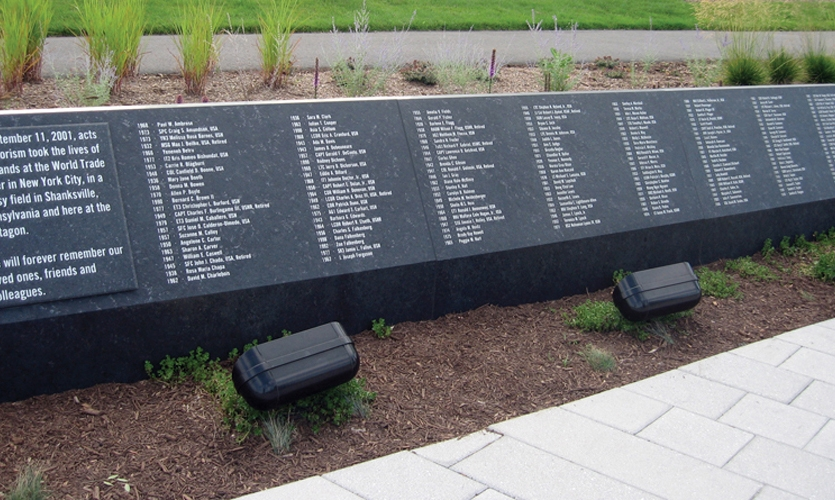 Marcel Mächler Inc. sandblasted the small characters on the Pentagon Memorial's simple but dramatic entry stone. (Photo: KBAS)