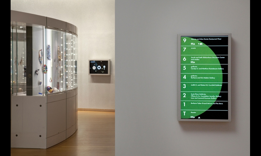 On each of MAD's seven public floors, portrait-format flatscreen displays provide programming information in a vertical format that mirrors the lobby's primary wayfinding totem.