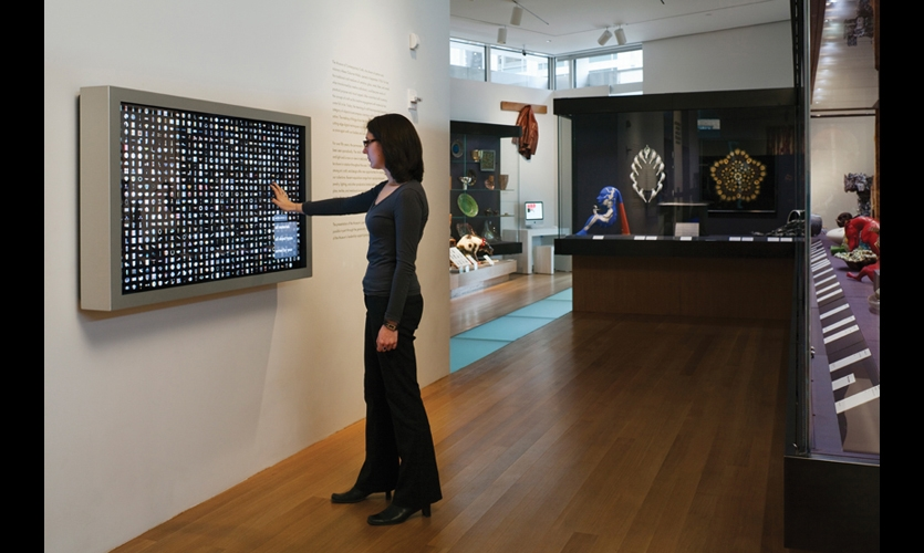 The 57-in. collection interactive presents a bird's-eye view of the museum's entire collection. Users can interact with objects by selecting a variety of filters and sorts, or zooming in on specific objects to reveal more information.