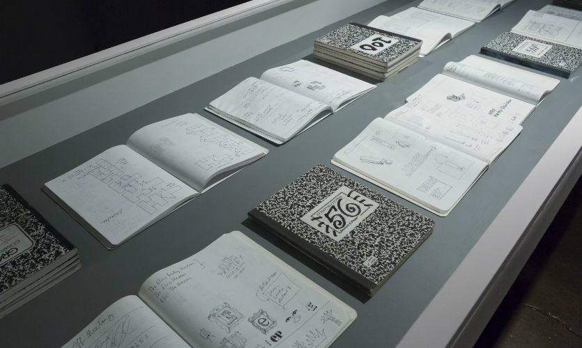 Another room is devoted to Bierut's creative process and includes 100 of his composition/sketchbooks. (Photo: Bilyana Dimitrova)