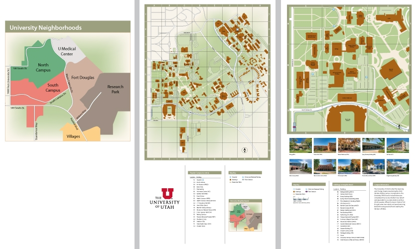 From right to left: map of the University of Utah neighborhoods, campus map, a neighborhood map with building photos and stories