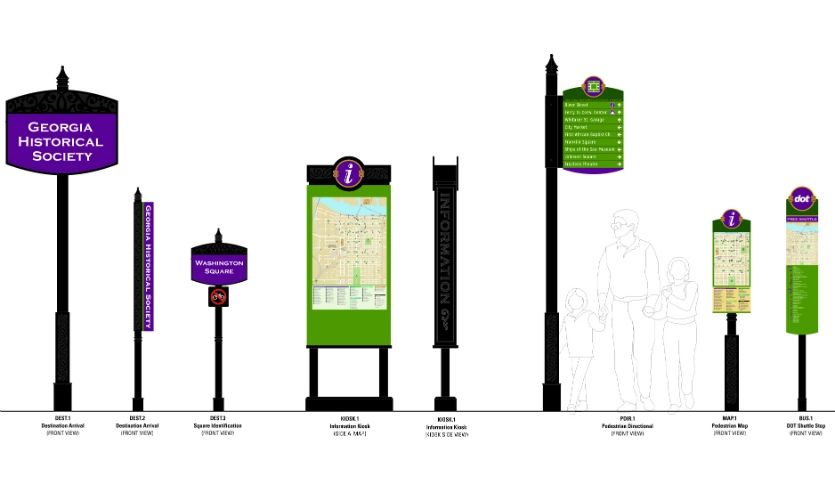 In a very pedestrian-focused environment, MERJE created signage that speaks to Savannah's heritage while guiding visitors to key attractions.