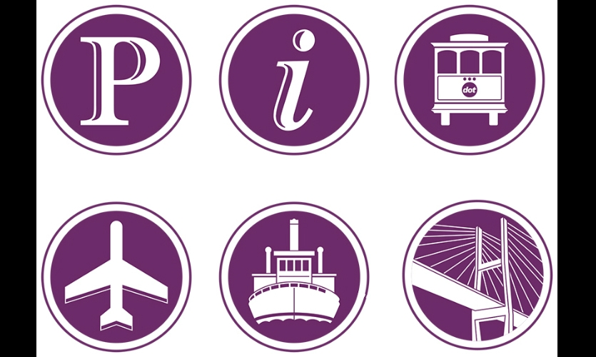 MERJE designed a series of custom icons to promote and highlight Savannah's major tourist attractions and connect visitors with transportation to reach them.