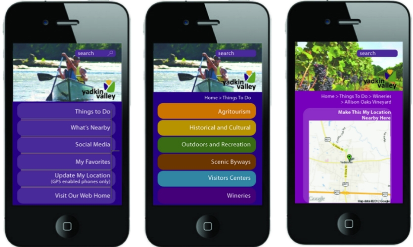 A mobile app helps reinforce the brand and the region's attractions.
