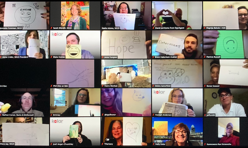 """On Thursday April 23 and Friday April 24, amidst sheltering in place, SEGD's """"Management & Leadership: Take 20"""" gave a virtual stage to 19 local and international speakers, in service of 67 participants, from design students to thought leaders."""