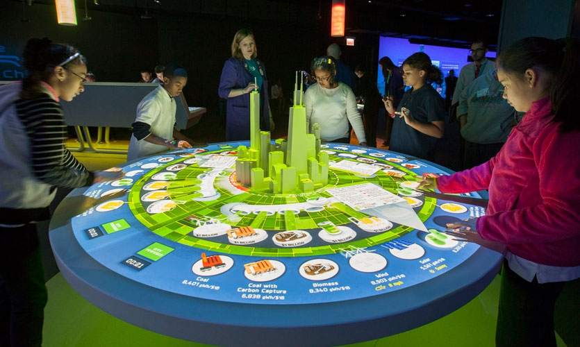 In Chicago's Museum of Science and Industry, children discover the complexities of energy usage at Potion's Future Energy exhibit.