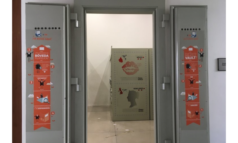 The (actual) archive is in an accessible vault, with amusing multilingual interactive text on the side doors. This is where the serious stamp devotee can explore for themselves.