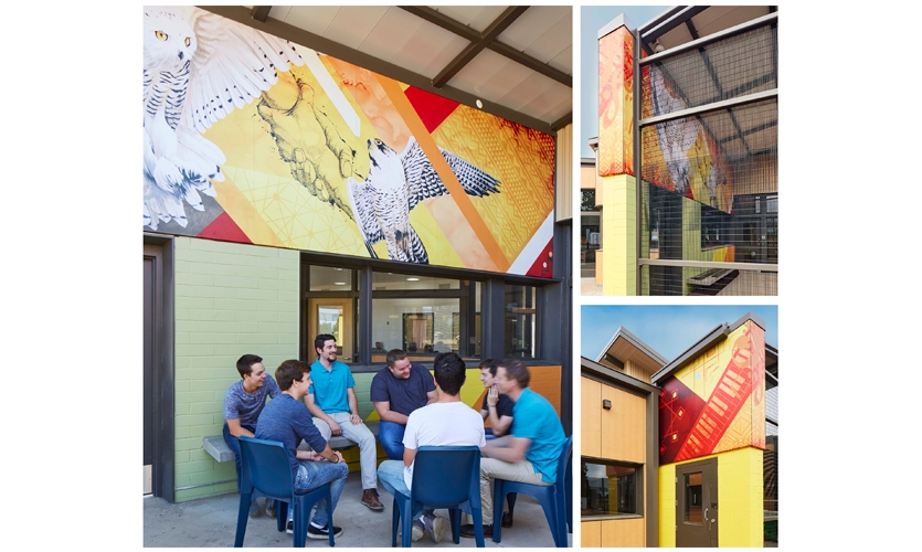 Designed to normalize the environment and inspire conversation and self-reflection, the bold graphics wrap an upper courtyard wall for indoor and outdoor views.