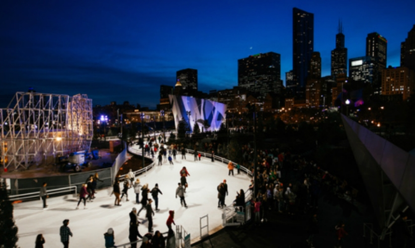 A new city park: Designed by Michael Van Valkenburgh Associates, the brand-new $60 million Maggie Daley Park has an ice-skating ribbon, rock climbing walls, and play gardens.