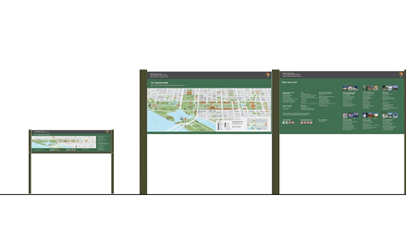 Because visitors enter the mall from more than 60 locations, Hunt Design developed a perimeter of 47 welcome maps in low wayside and upright formats.