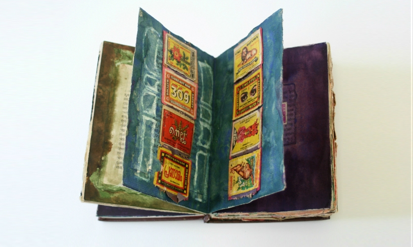 I completed this book when I travelled in India. It contains sketches and found objects.