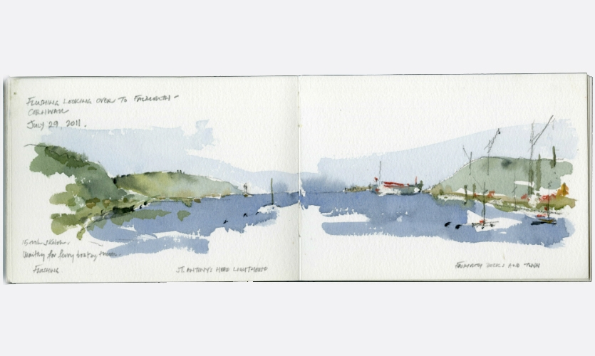 "The sketchbook becomes an ""object"" and the double-page spread creates a tantalizing panoramic format where slices of reality become windows into the past."