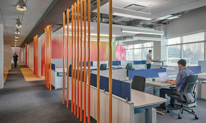 Colorful fins and poles define various zones throughout the building.