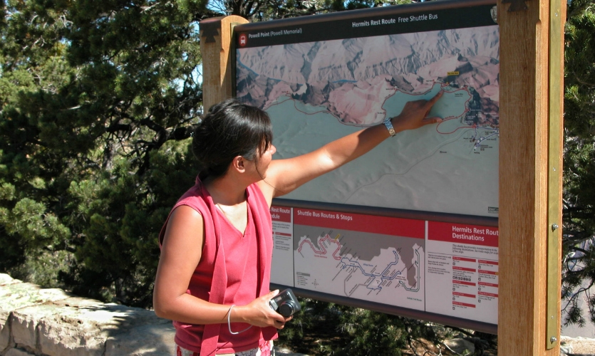 Meeker's firm created the sign system for Grand Canyon National Park, including a modular assembly for shuttle bus maps and supporting schedules and route diagrams.