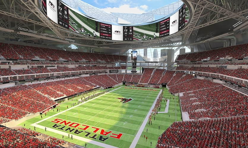 The new Mercedes Benz Stadium, home of the Atlanta Falcons is set to open in Fall 2017.